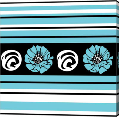 Metaverse Art Bold Turquoise Flower II Gallery Wrap Canvas Wall Art