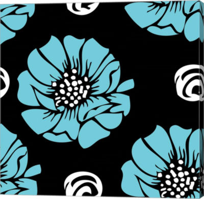 Metaverse Art Bold Turquoise Flower Gallery Wrap Canvas Wall Art