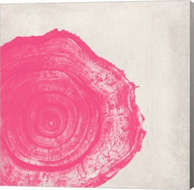 Metaverse Art Tree Stump Hot Pink Gallery Wrap Canvas Wall Art