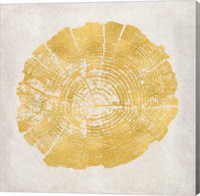 Metaverse Art Tree Stump Golden I Gallery Wrap Canvas Wall Art