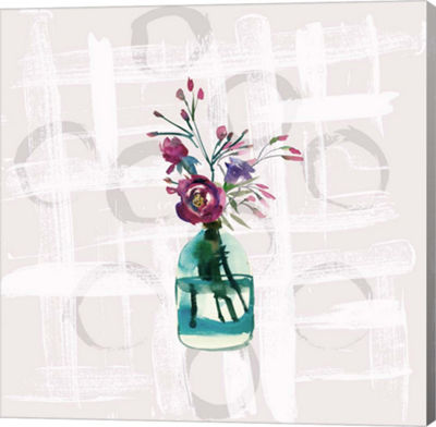 Metaverse Art Floral Jar On Grunge Square Gallery Wrap Canvas Wall Art
