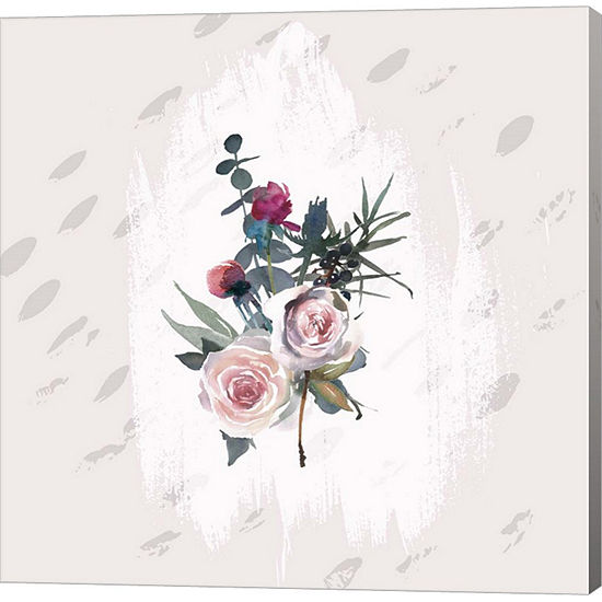 Metaverse Art Floral Bouquet on Grunge Square Gallery Wrap Canvas Wall Art