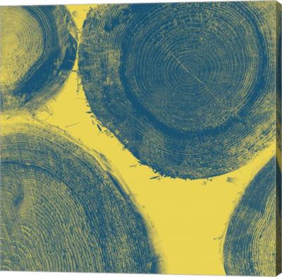 Metaverse Art Blue on Yellow Gallery Wrap Canvas Wall Art