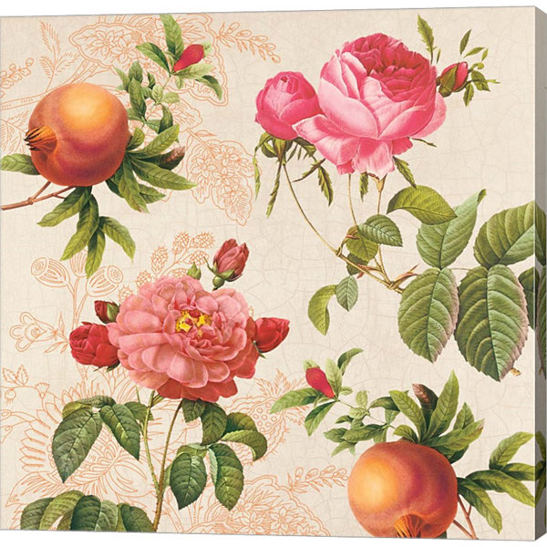 Metaverse Art Pomegranates and Roses on Cream Gallery Wrap Canvas Wall Art