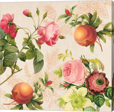 Metaverse Art Roses and Pomegranates on Cream Gallery Wrap Canvas Wall Art