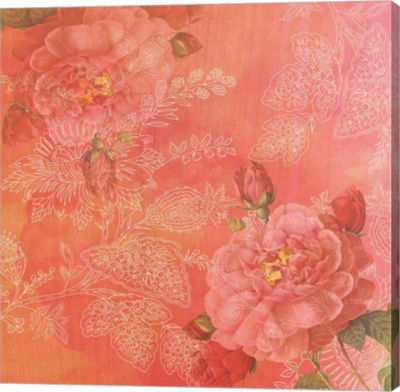 Metaverse Art Peach Roses Gallery Wrap Canvas WallArt