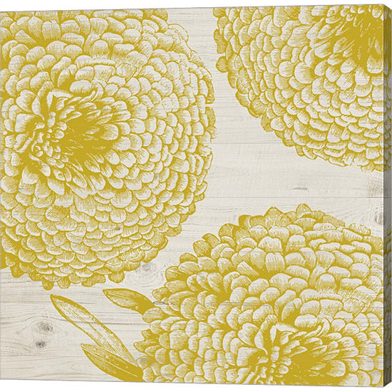 Metaverse Art Golden Dahlias I Gallery Wrap Canvas Wall Art