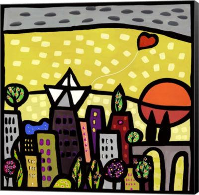 Metaverse Art Il Cuore vive sulla Piccola Citta Museum Wrap Canvas Wall Art