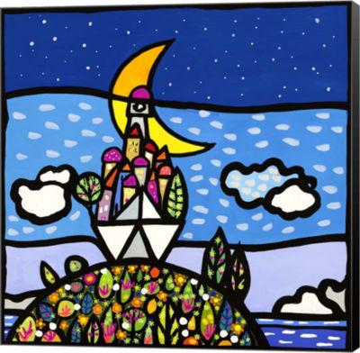 Metaverse Art Barca sulla Collina Museum Wrap Canvas Wall Art