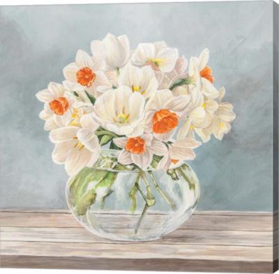 Metaverse Art Fleurs et Vases Aquamarine II Gallery Wrap Canvas Wall Art