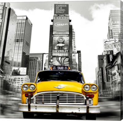 Metaverse Art Vintage Taxi in Times Square; NYC (detail) Gallery Wrap Canvas Wall Art