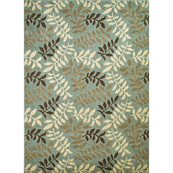 Concord Global Trading Chester Collection Leaves Accent, Area, Rectangular and Round Rugs