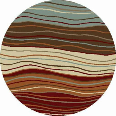 Concord Global Trading Chester Collection Waves Multi Round Area Rug
