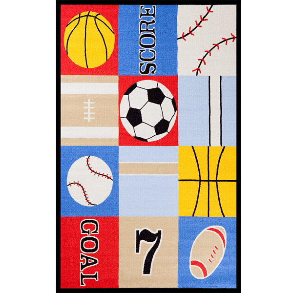 Concord Global Trading Fun Time Collection Ball Games Multi Area Rug