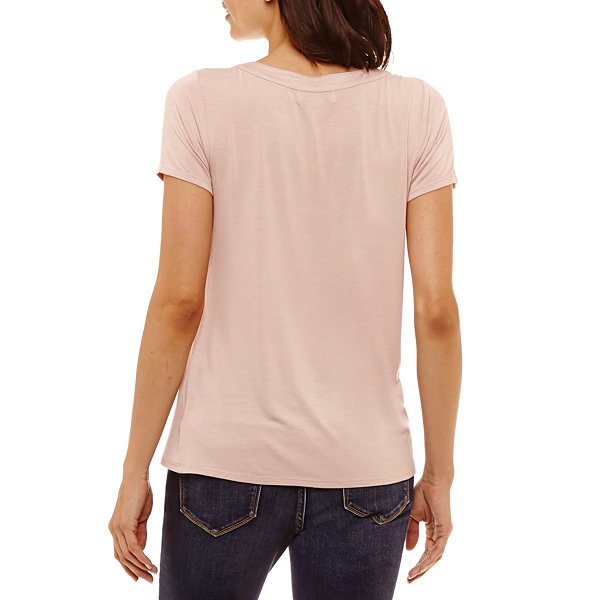 Liz Claiborne Short Sleeve Shine Trim T-Shirt - Petites