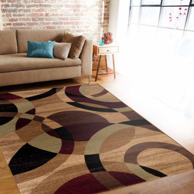 World Rug Gallery Contemporary Modern Circles Rectangular Rugs