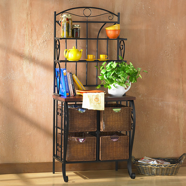 Home Décor Collections Iron/Wicker Bakers Rack