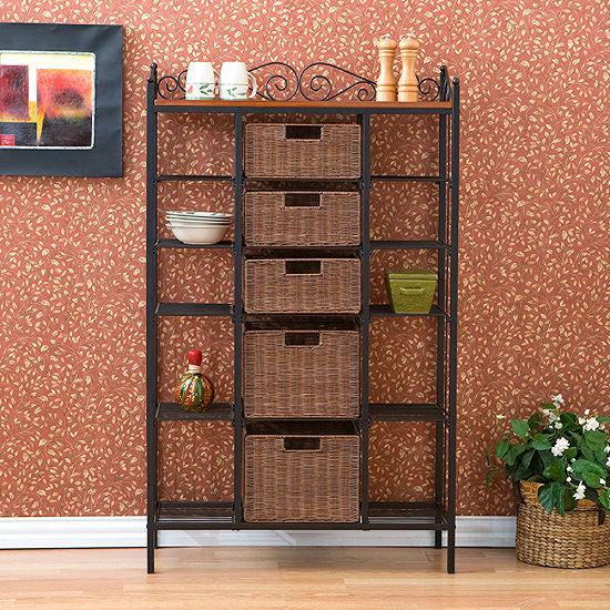 Wooden Door Kitchen 5-Drawer Bakers Rack