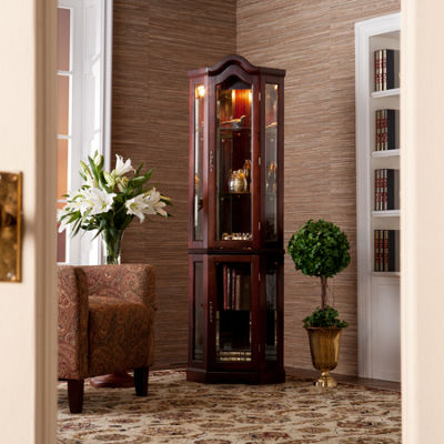 Wonderful Southlake Furniture Lighted Corner Curio Cabinet - JCPenney DR04