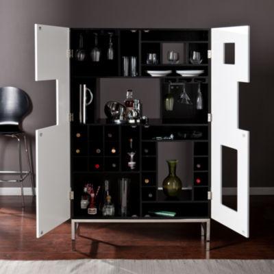 Wooden Door Kitchen Shadowbox Wine/Bar Cabinet