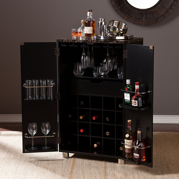 Wooden Door Kitchen Contemporary Bar Cabinet