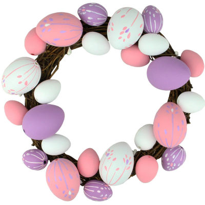 "10"" Pastel Pink Green and White Floral Stem Easter Egg Spring Grapevine Wreath"