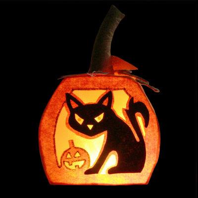 "12.5"" LED Lighted Orange Felt Black Cat and Jack-o-Lantern Pumpkin Halloween Decoration"""