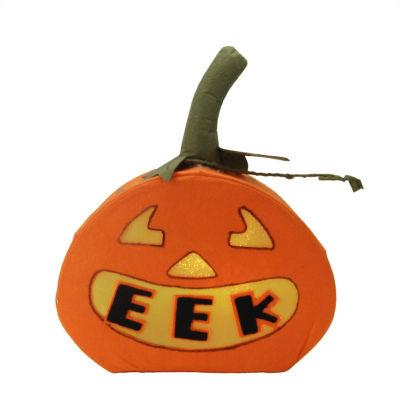"13.5"" LED Lighted ""EEK"" Orange Felt Jack-o-Lantern Pumpkin Halloween Decoration"""