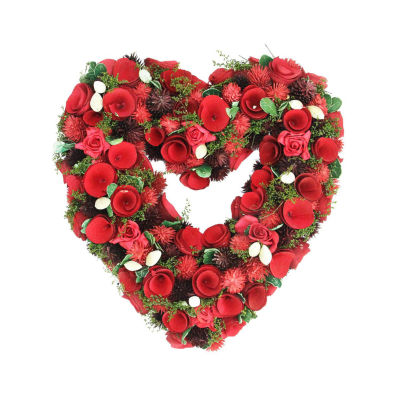 "13.5"" Red Rose Flower Heart Shaped Artificial Valentine's Day Wreath - Unlit"""