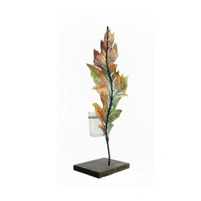 "14"" Multi-Colored Autumn Harvest Oak Leaf Decorative Votive Candle Holder"