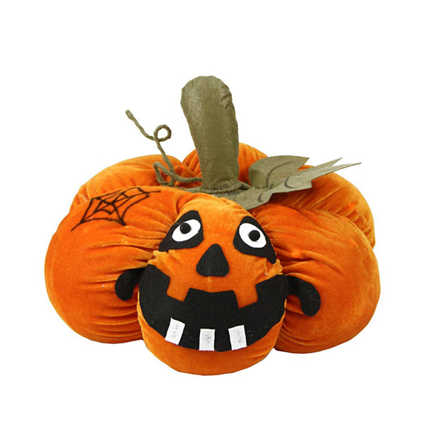"15"" LED Lighted Plush Orange Jack-o-Lantern Pumpkin Halloween Decoration"""