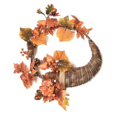 """20"""" Autumn Harvest Decorative Artificial Pinecones Berries and Leaves Cornucopia Wreath - Unlit"""
