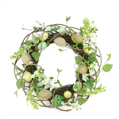 "20"" Decorative Spring Floral and Berry Artificial Burlap and Speckled Easter Egg Wreath"
