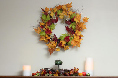 "22"" Autumn Harvest Maple Leaf Artificial Thanksgiving Floral Wreath - Unlit"