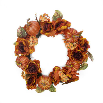 "24"" Autumn Floral and Harvest Pumpkin Artificial Thanksgiving Wreath - Unlit"
