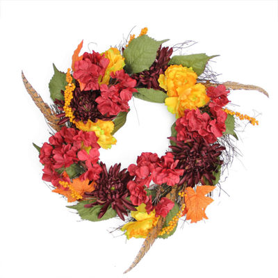"24"" Autumn Harvest Peony Mum & Feather Artificial Thanksgiving Floral Wreath - Unlit"