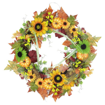 """24"""" Autumn Mixed Leaf Flowers Pine Cones and Pumpkin Artificial Thanksgiving Wreath - Unlit"""