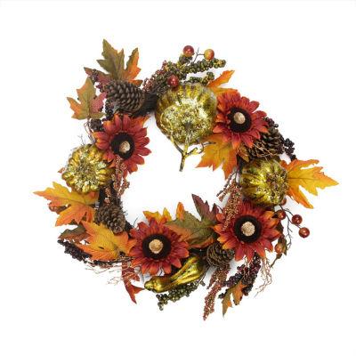 """24"""" Gold Pumpkin and Red Sunflower Autumn Harvest Artificial Thanksgiving Wreath - Unlit"""