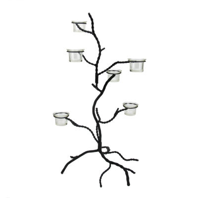 "24.5"" Black Halloween Twig Tree Glass Votive or Tea Light Candle Holder"
