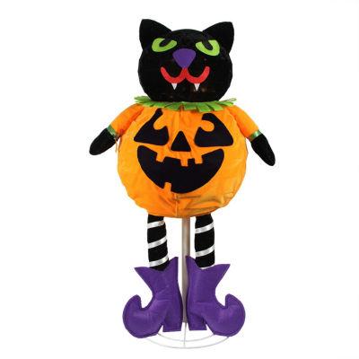 "35"" LED Lighted Standing Black Cat Jack-O-Lantern Pumpkin Halloween Decoration"