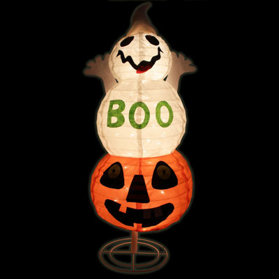 "37"" Lighted Spooky ""BOO"" Ghost on Jack-o-Lantern Pumpkin Halloween Decoration"