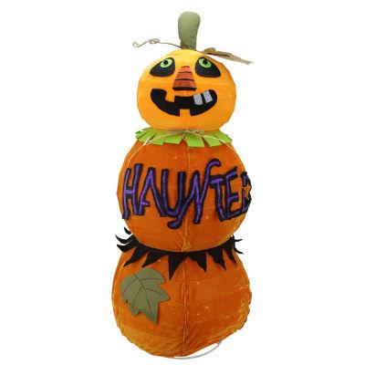 "38"" Lighted Standing Spooky ""HAUNTED"" Orange Jack-o-Lantern Pumpkin Halloween Decoration"
