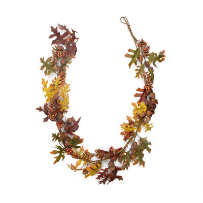 5' Glittered Acorn and Hawthorne Leaf Artificial Thanksgiving Garland - Unlit