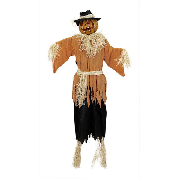 6' Lighted and Animated Creepy Jack-o'-Lantern Scarecrow Halloween Decoration