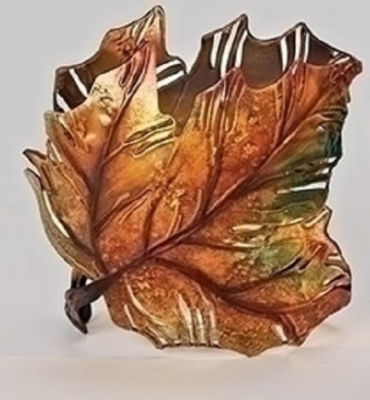 "6"" Autumn Colored Maple Leaf Metal Thanksgiving Leaf Votive Candle Holder"