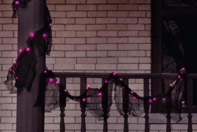 9' Pre-lit Black Gauze Fabric Novelty Halloween Garland - Pink Purple Lights