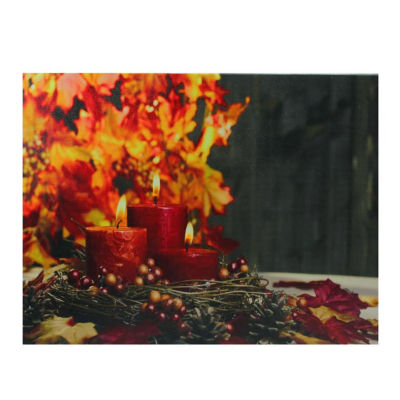 "LED Lighted Triple Tiered Crimson Candles Festive Fall Autumn Canvas Wall Art 12"" x 15.75"""