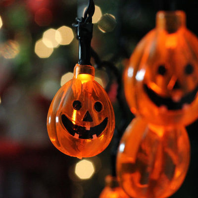 Set of 10 B/O Orange Jack-O-Lantern Pumpkin LED Novelty Halloween Lights - Black Wire