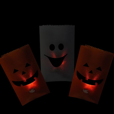 Set of 3 Flickering Light Pumpkin and Ghost Halloween Luminary Pathway Markers