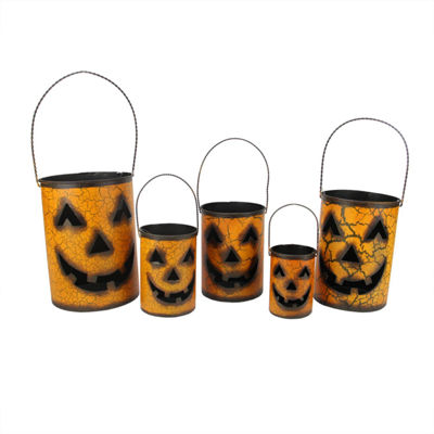 Set of 5 Nesting Luminary Jack-O-Lantern Pumpkin Halloween Container Baskets